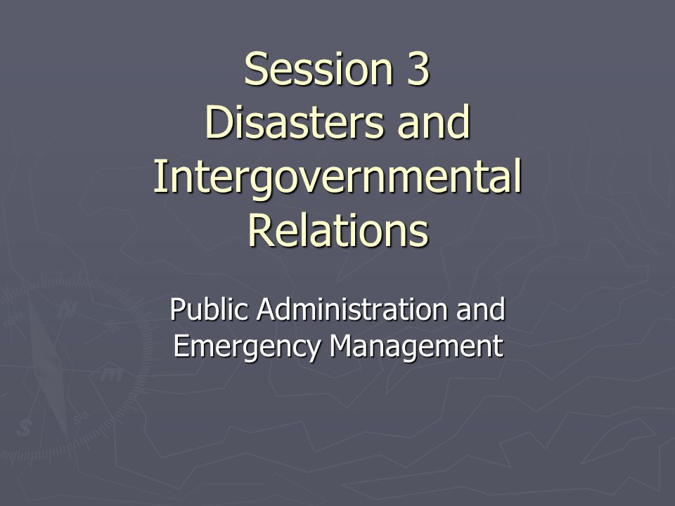 Fiscal relationships among federal, state, and local governments As we learned in the earlier discussion of the intergovernmental system ► there are fewer categorical grants to assist state and local governments, although FEMA and other agencies still provide technical assistance and some funding for training programs at the state level; ► the general revenue-sharing program that provided additional monies to support state and local services, offering local officials wide discretion in their use, ended in the late 1980s; ► some federal programs (see Appendix A) are providing funding, training, and technical assistance to local responders who might become involved in a terrorist event involving nuclear, chemical, biological, or radiological agents;