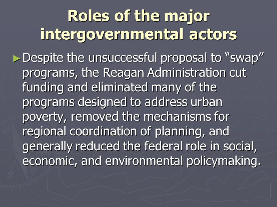 """Roles of the major intergovernmental actors ► Despite the unsuccessful proposal to """"swap"""" programs, the Reagan Administration cut funding and eliminat"""
