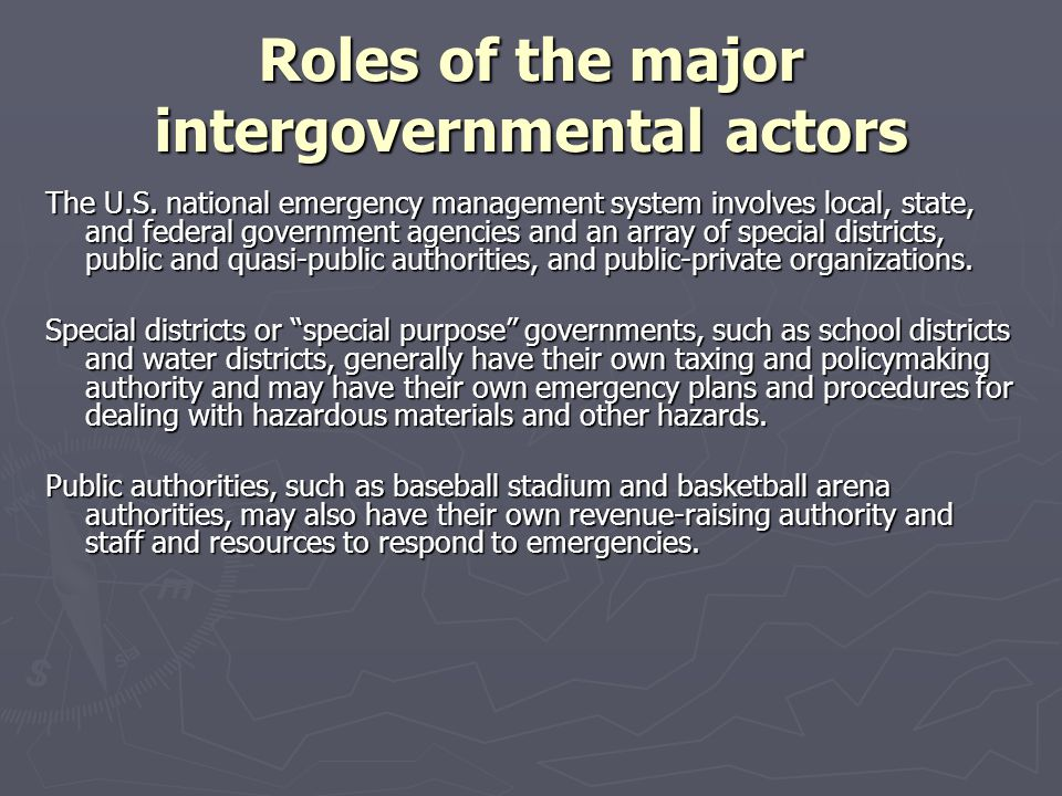 Roles of the major intergovernmental actors President Nixon also consolidated categorical grant programs into a few block grants that provided funding in specified policy areas with more flexibility for state and local targeting of spending.