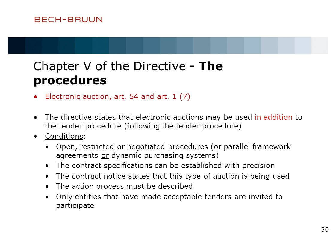 Chapter V of the Directive - The procedures Electronic auction, art.