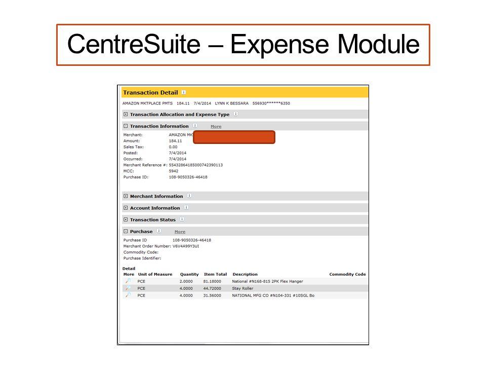 CentreSuite – Expense Module