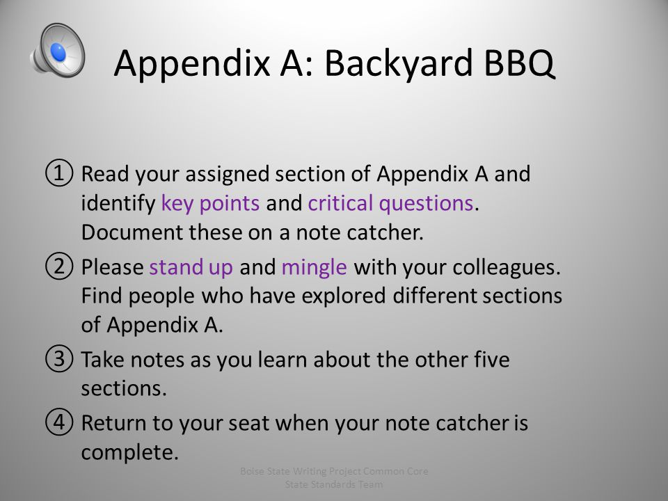 Appendix A: Backyard BBQ ①Read your assigned section of Appendix A and identify key points and critical questions.