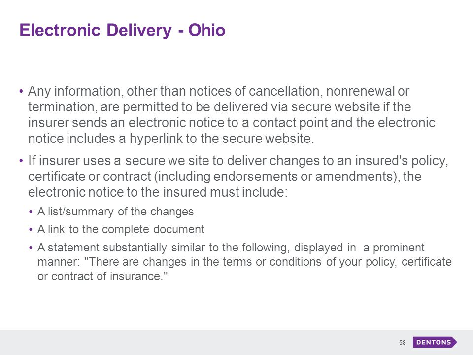 Electronic Delivery - Ohio 58 Any information, other than notices of cancellation, nonrenewal or termination, are permitted to be delivered via secure website if the insurer sends an electronic notice to a contact point and the electronic notice includes a hyperlink to the secure website.
