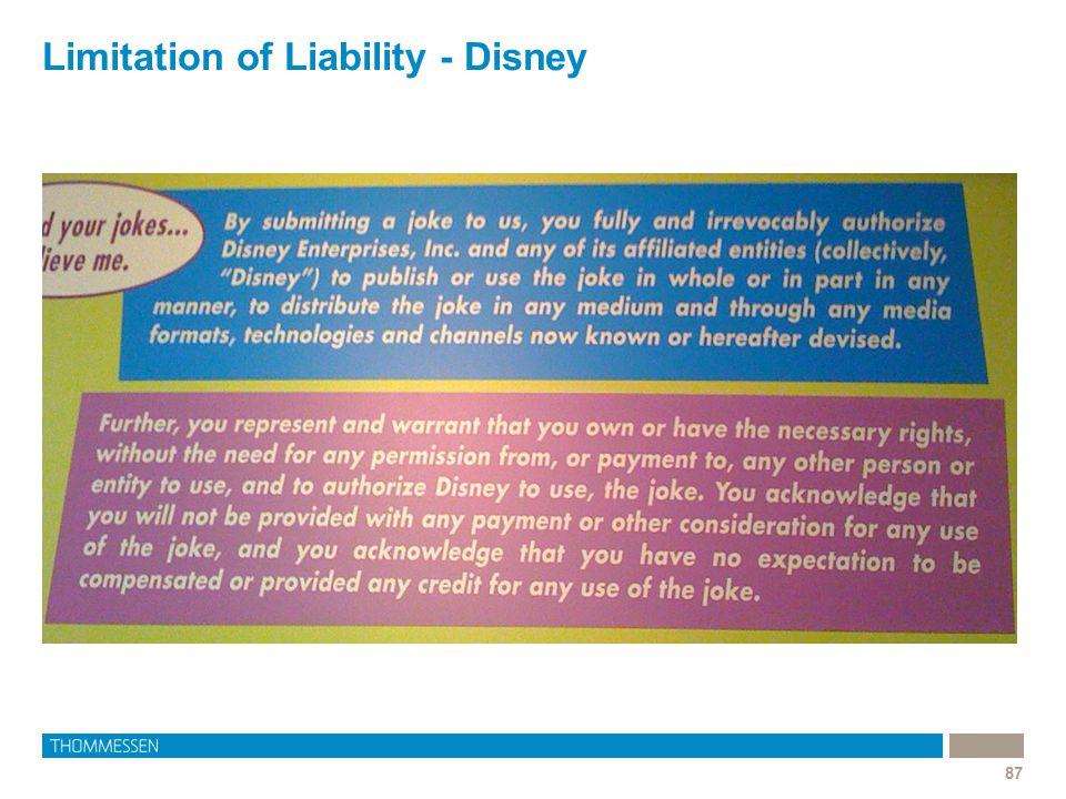 Limitation of Liability - Disney 87