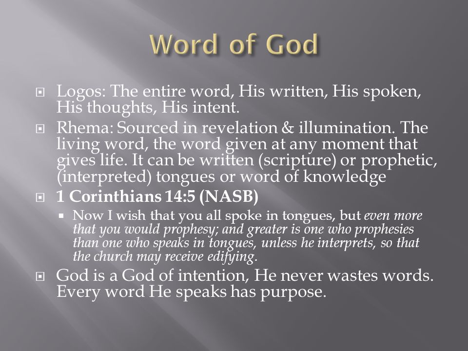  Logos: The entire word, His written, His spoken, His thoughts, His intent.