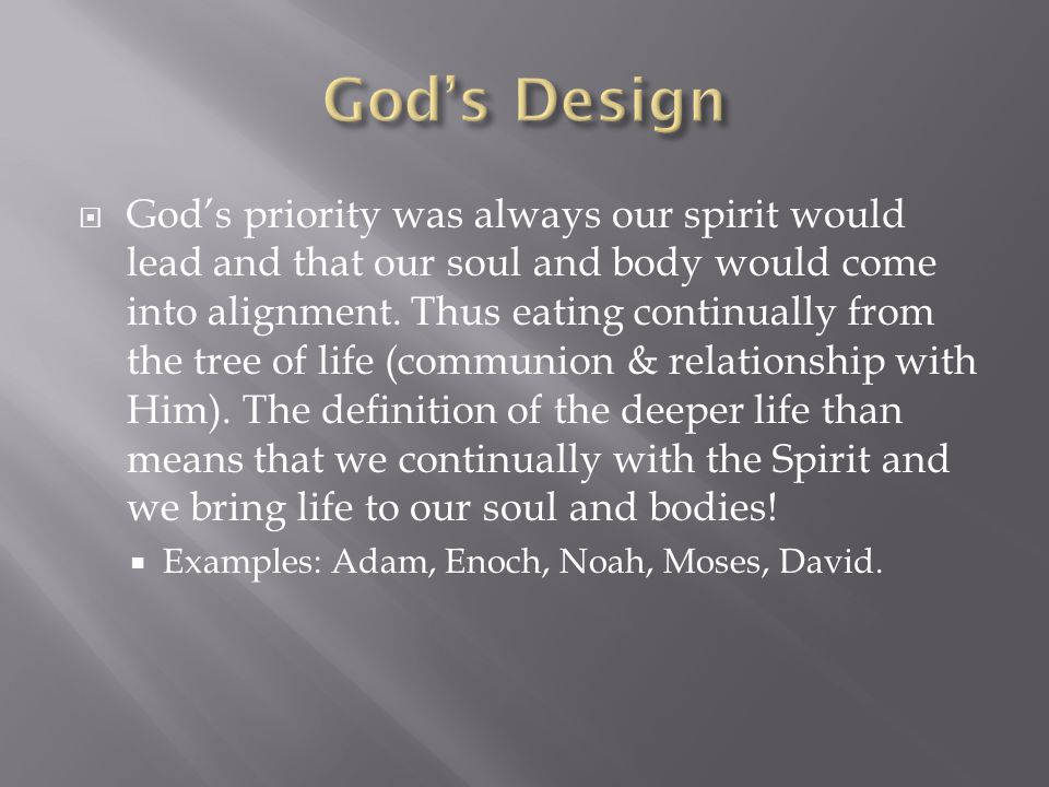  God's priority was always our spirit would lead and that our soul and body would come into alignment.