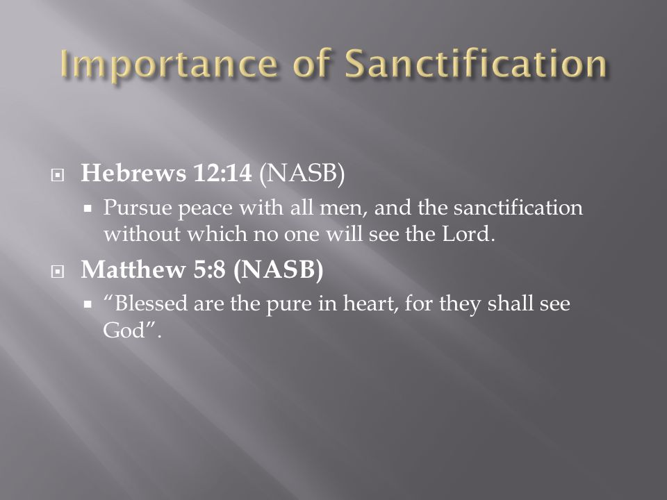  Hebrews 12:14 (NASB)  Pursue peace with all men, and the sanctification without which no one will see the Lord.