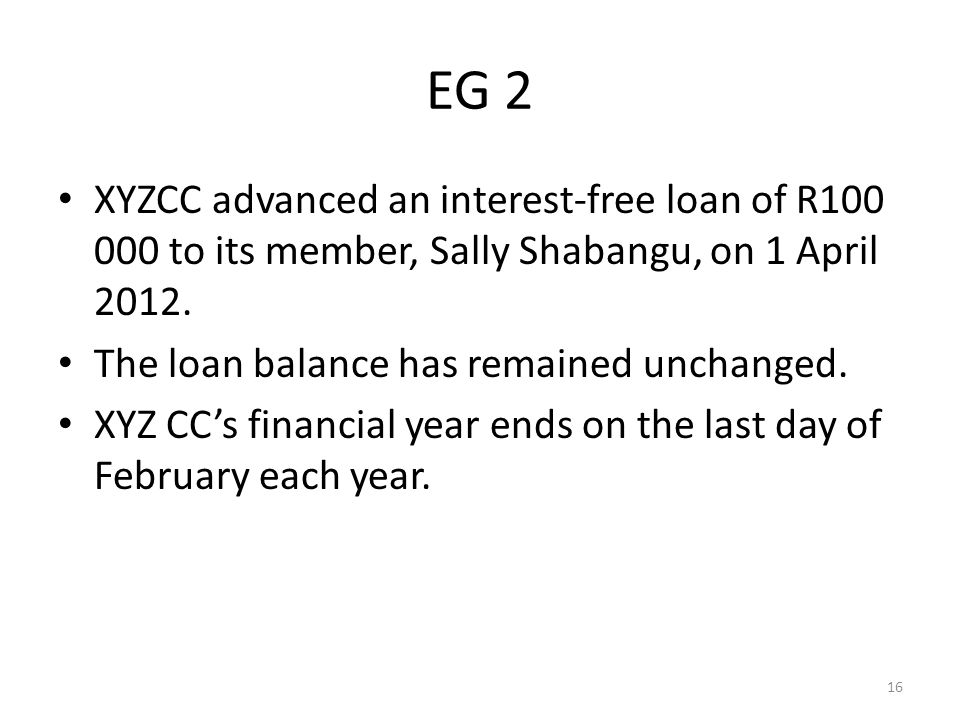 EG 2 XYZCC advanced an interest-free loan of R100 000 to its member, Sally Shabangu, on 1 April 2012.
