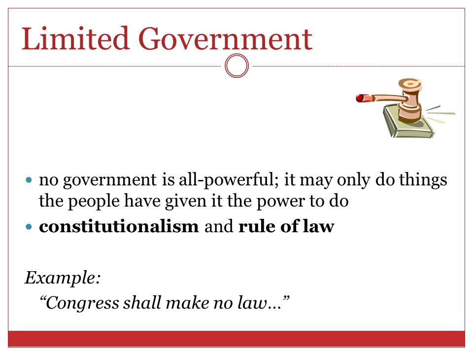Separation of Powers power of the National Government is distributed among Congress (legislative), the President (executive) and the courts (judicial) Example: The executive Power shall be vested in a President of the United States of America…