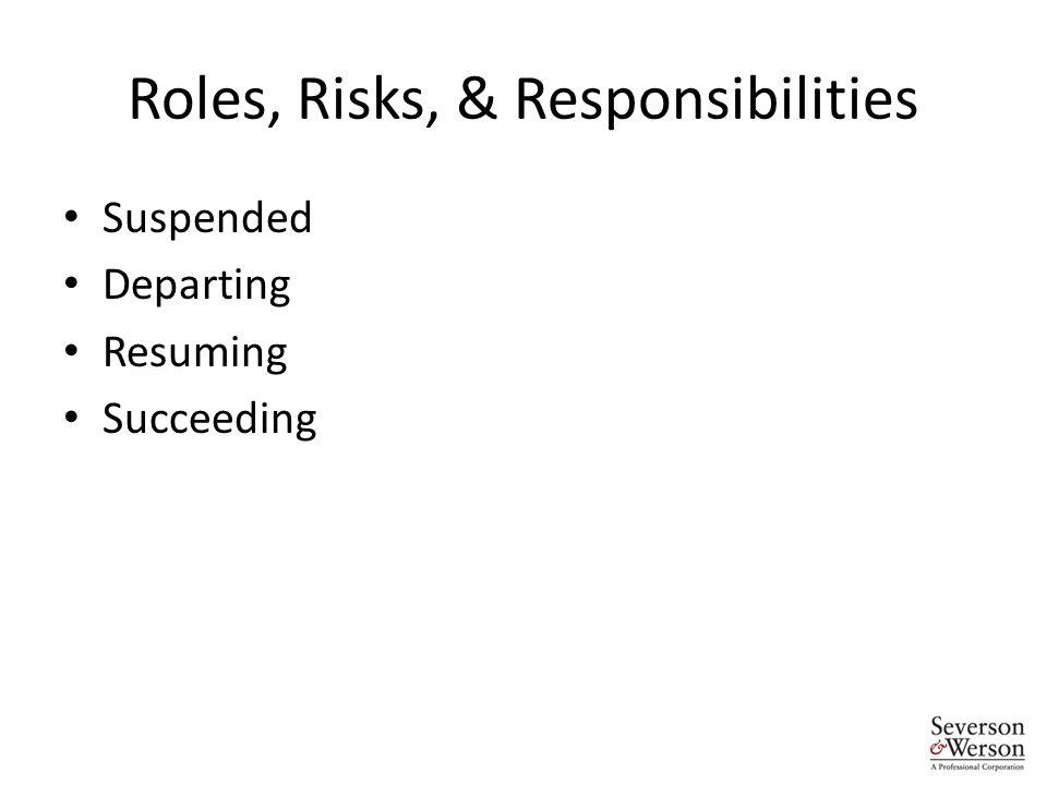 Roles, Risks, & Responsibilities Suspended Departing Resuming Succeeding