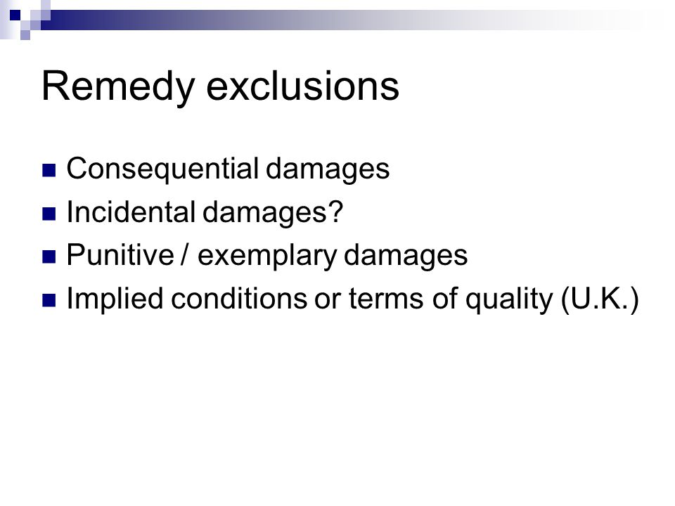 Remedy exclusions Consequential damages Incidental damages.