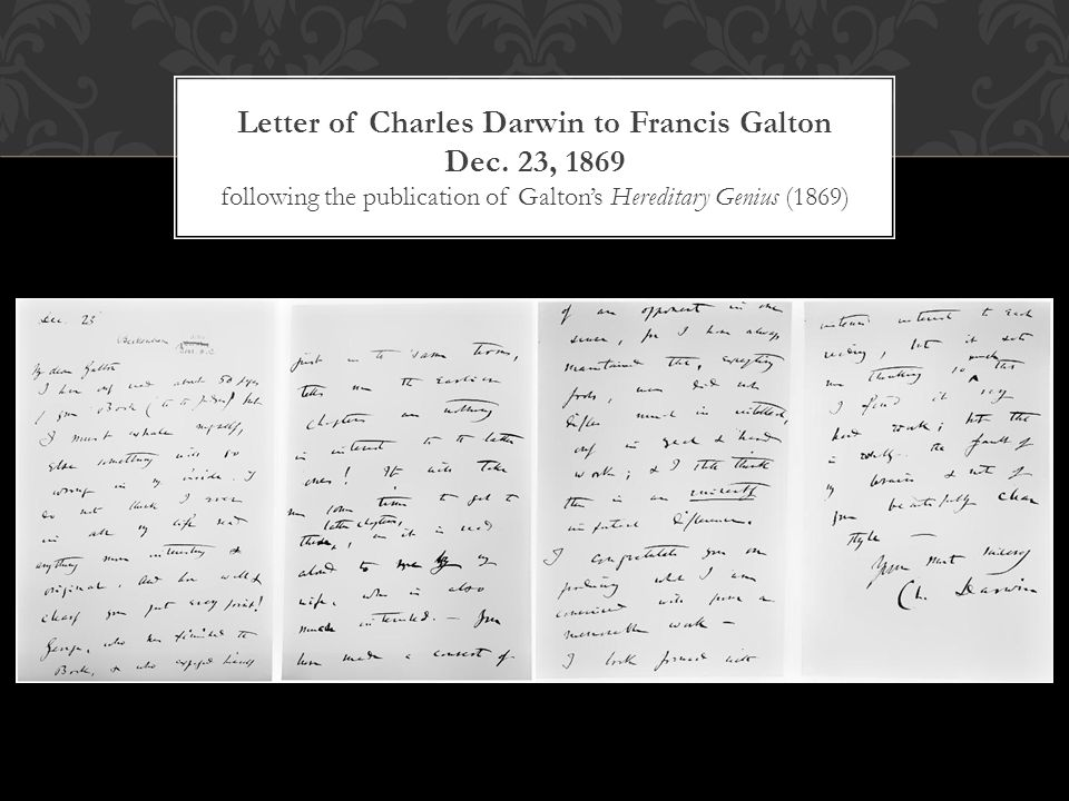Letter of Charles Darwin to Francis Galton Dec.