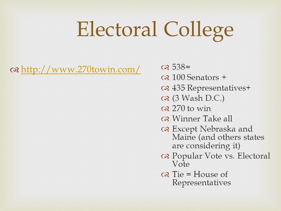 Electoral College  http://www.270towin.com/ http://www.270towin.com/  538=  100 Senators +  435 Representatives+  (3 Wash D.C.)  270 to win  Wi