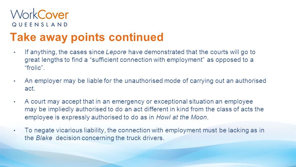 "Take away points continued If anything, the cases since Lepore have demonstrated that the courts will go to great lengths to find a ""sufficient connec"