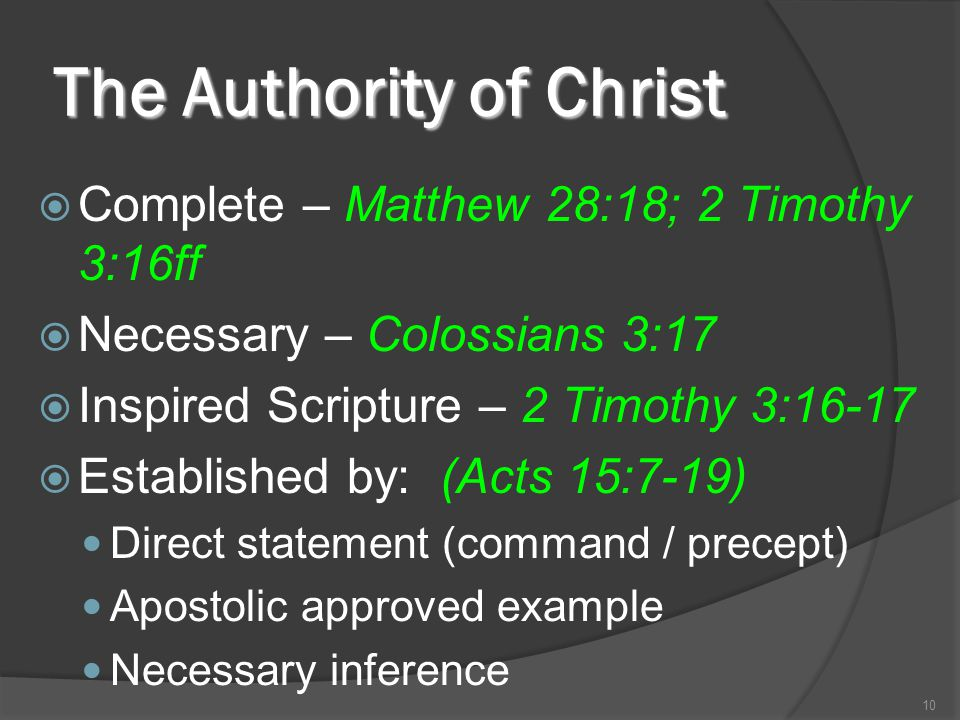 The Authority of Christ  Complete – Matthew 28:18; 2 Timothy 3:16ff  Necessary – Colossians 3:17  Inspired Scripture – 2 Timothy 3:16-17  Establis