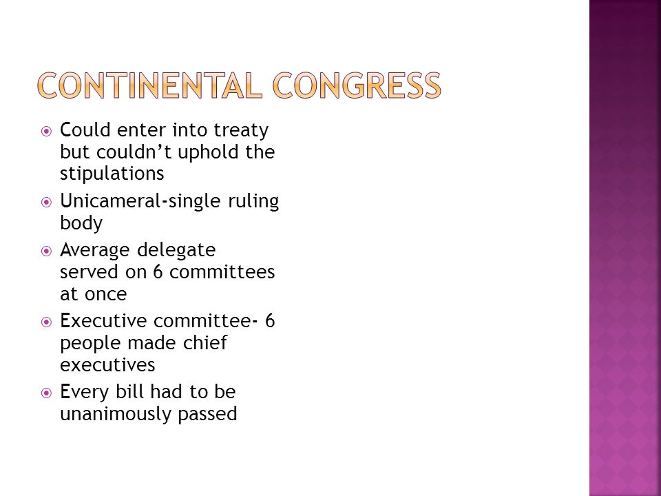 Could enter into treaty but couldn't uphold the stipulations  Unicameral-single ruling body  Average delegate served on 6 committees at once  Exe
