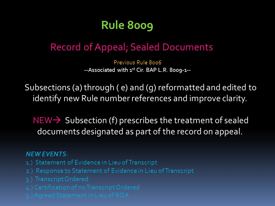 Record of Appeal; Sealed Documents Subsections (a) through ( e) and (g) reformatted and edited to identify new Rule number references and improve clar