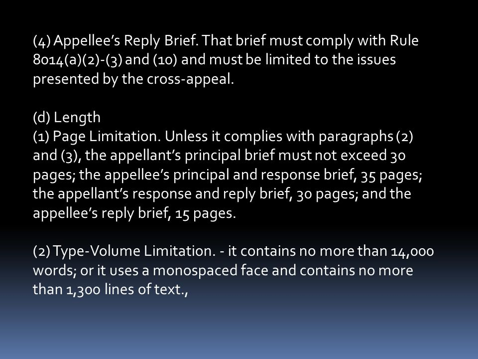 (4) Appellee's Reply Brief.