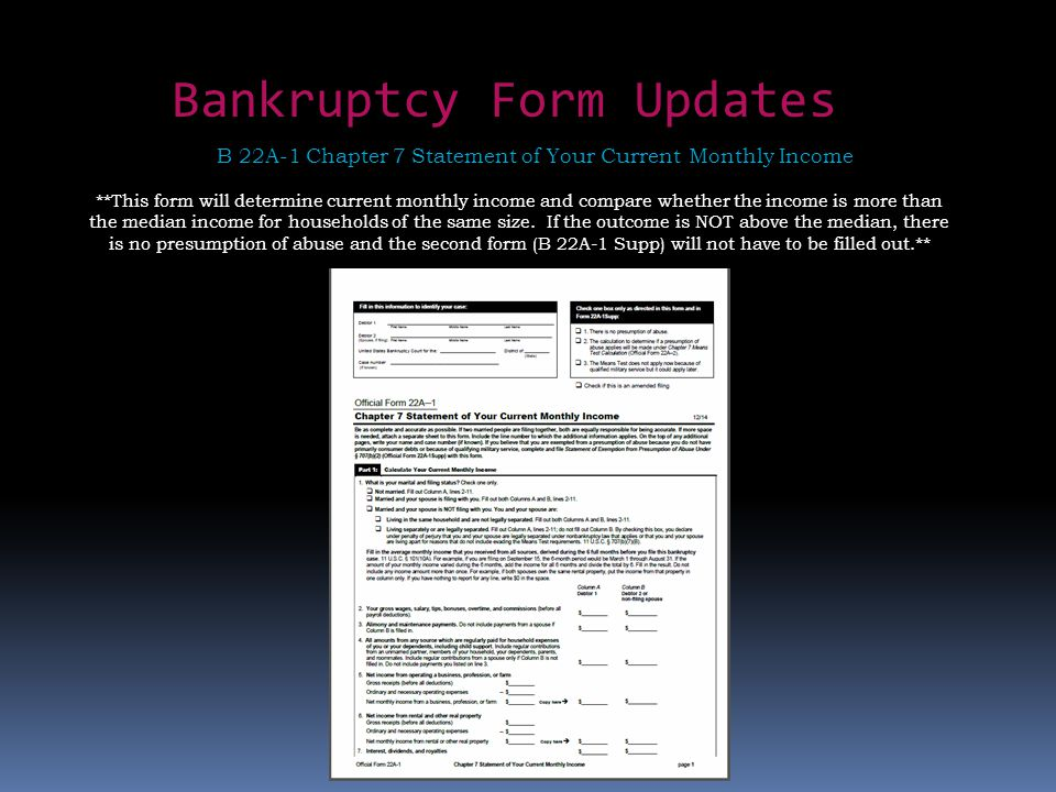 Bankruptcy Form Updates B 22A-1 Chapter 7 Statement of Your Current Monthly Income **This form will determine current monthly income and compare wheth