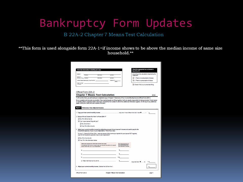 Bankruptcy Form Updates B 22A-2 Chapter 7 Means Test Calculation **This form is used alongside form 22A-1=if income shows to be above the median income of same size household.**