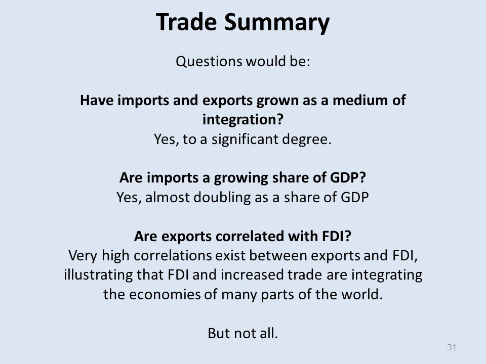 Trade Summary Questions would be: Have imports and exports grown as a medium of integration.