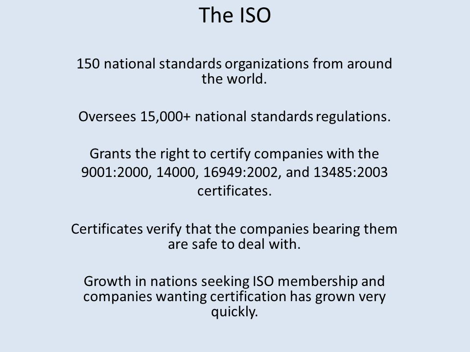 The ISO 150 national standards organizations from around the world.
