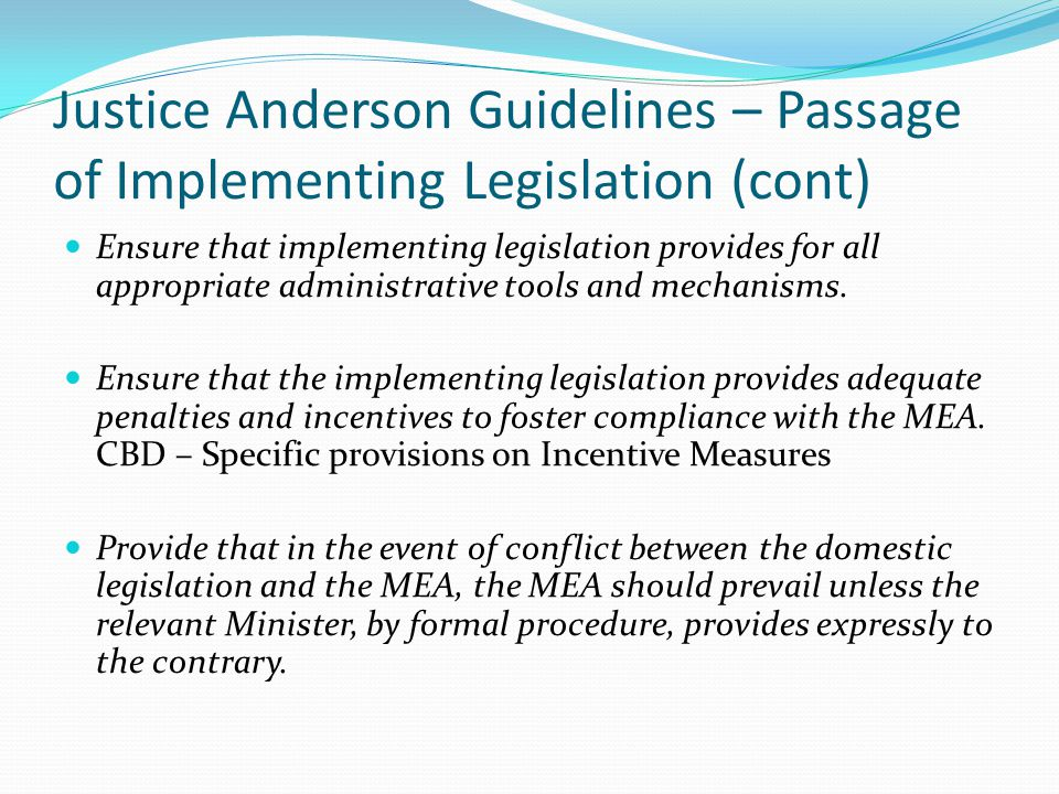Justice Anderson Guidelines – Passage of Implementing Legislation (cont) Ensure that implementing legislation provides for all appropriate administrat