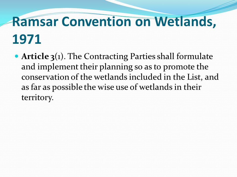Ramsar Convention on Wetlands, 1971 Article 3(1). The Contracting Parties shall formulate and implement their planning so as to promote the conservati