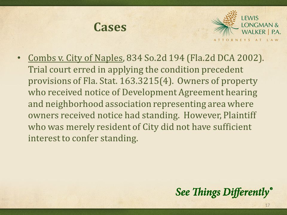 Cases Combs v. City of Naples, 834 So.2d 194 (Fla.2d DCA 2002).