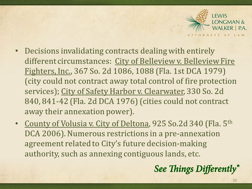 Decisions invalidating contracts dealing with entirely different circumstances: City of Belleview v.