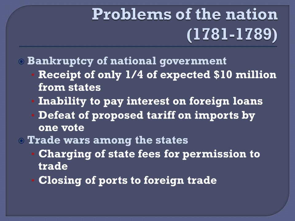  Bankruptcy of national government Receipt of only 1/4 of expected $10 million from states Inability to pay interest on foreign loans Defeat of proposed tariff on imports by one vote  Trade wars among the states Charging of state fees for permission to trade Closing of ports to foreign trade