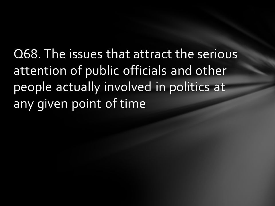 Q68. The issues that attract the serious attention of public officials and other people actually involved in politics at any given point of time