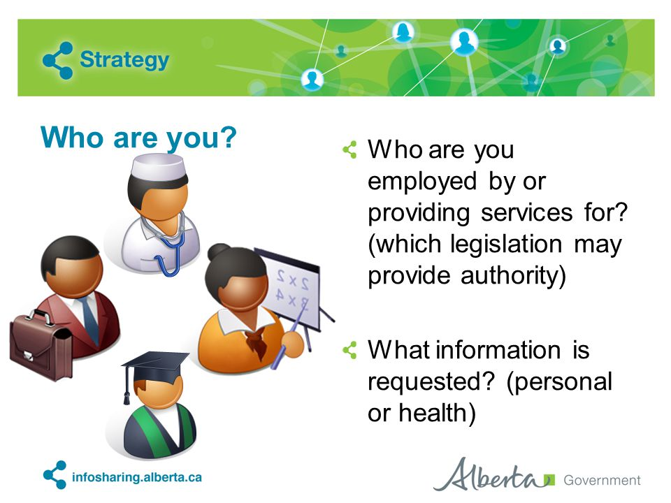Who are you? Who are you employed by or providing services for? (which legislation may provide authority) What information is requested? (personal or