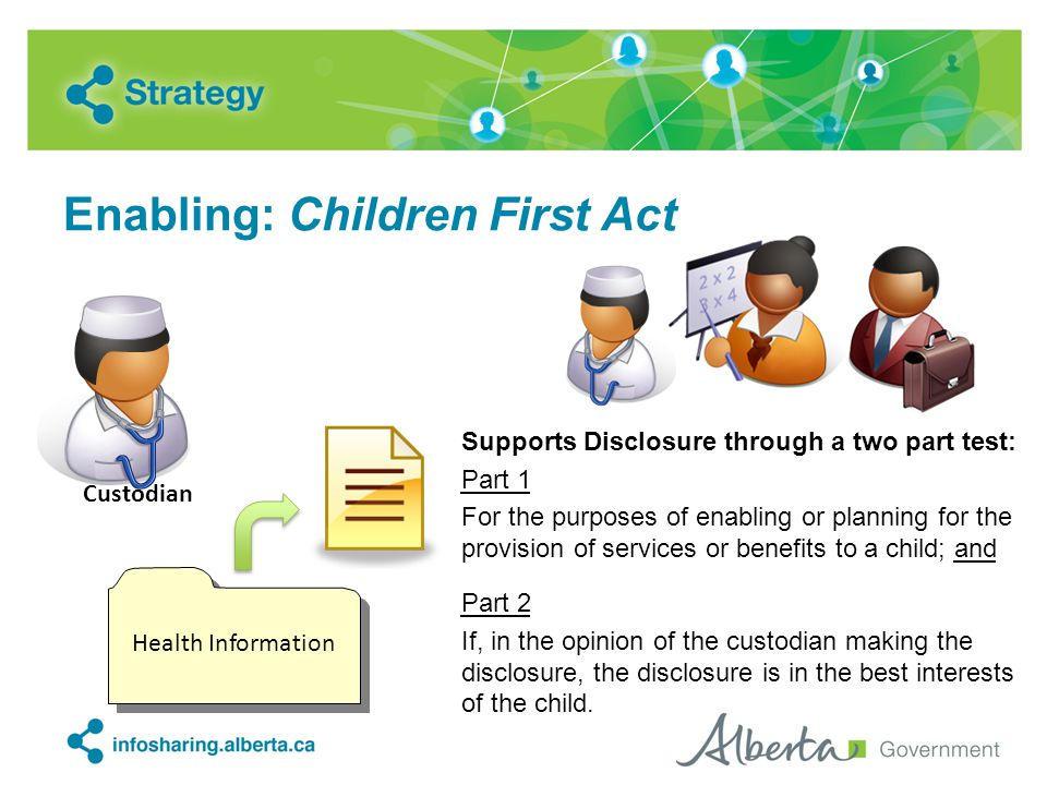 Enabling: Children First Act Supports Disclosure through a two part test: Part 1 For the purposes of enabling or planning for the provision of service