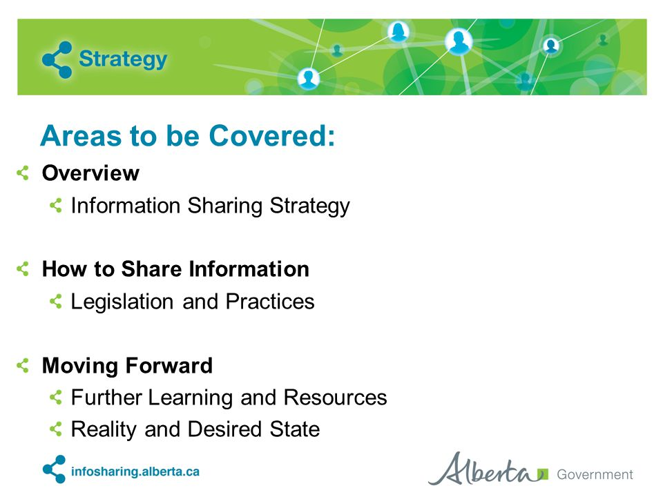 Areas to be Covered: Overview Information Sharing Strategy How to Share Information Legislation and Practices Moving Forward Further Learning and Reso
