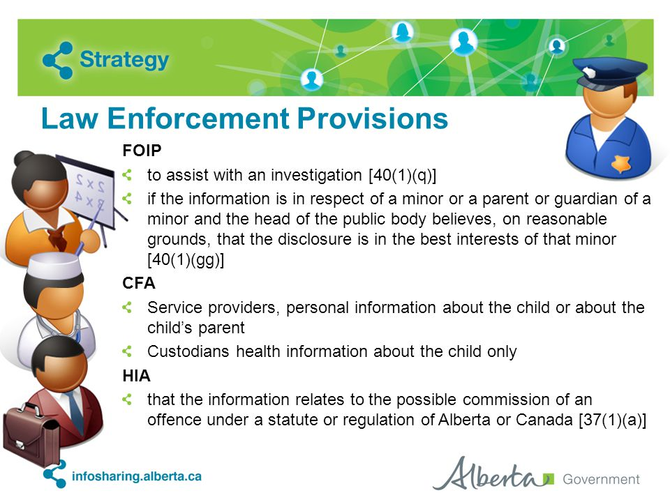 Law Enforcement Provisions FOIP to assist with an investigation [40(1)(q)] if the information is in respect of a minor or a parent or guardian of a minor and the head of the public body believes, on reasonable grounds, that the disclosure is in the best interests of that minor [40(1)(gg)] CFA Service providers, personal information about the child or about the child's parent Custodians health information about the child only HIA that the information relates to the possible commission of an offence under a statute or regulation of Alberta or Canada [37(1)(a)]