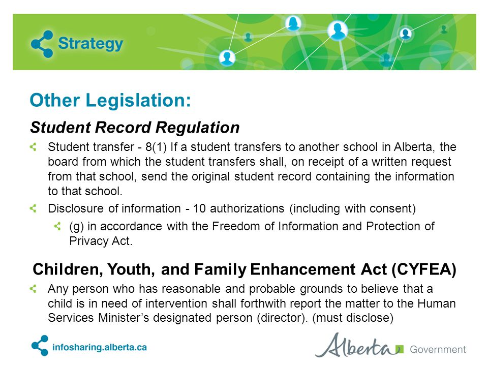 Other Legislation: Student Record Regulation Student transfer - 8(1) If a student transfers to another school in Alberta, the board from which the student transfers shall, on receipt of a written request from that school, send the original student record containing the information to that school.