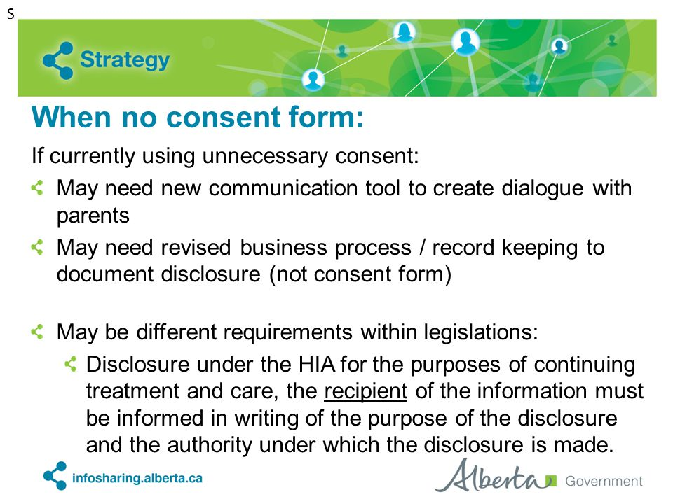When no consent form: If currently using unnecessary consent: May need new communication tool to create dialogue with parents May need revised busines