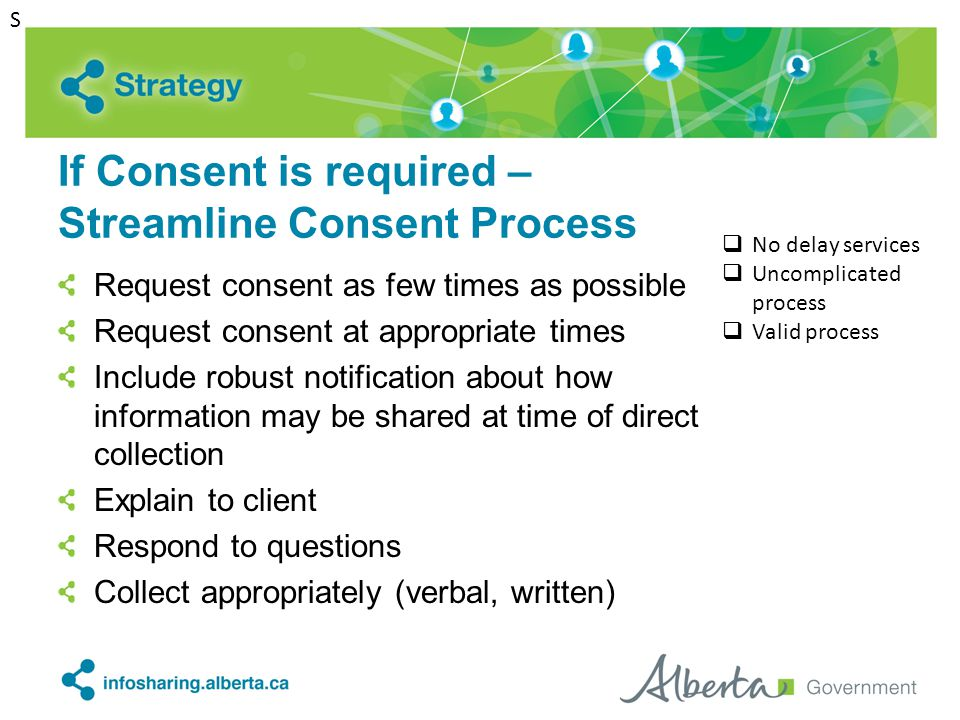If Consent is required – Streamline Consent Process Request consent as few times as possible Request consent at appropriate times Include robust notif