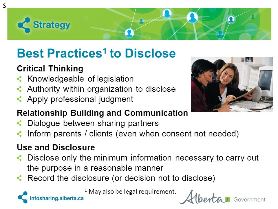 Best Practices 1 to Disclose Critical Thinking Knowledgeable of legislation Authority within organization to disclose Apply professional judgment Rela