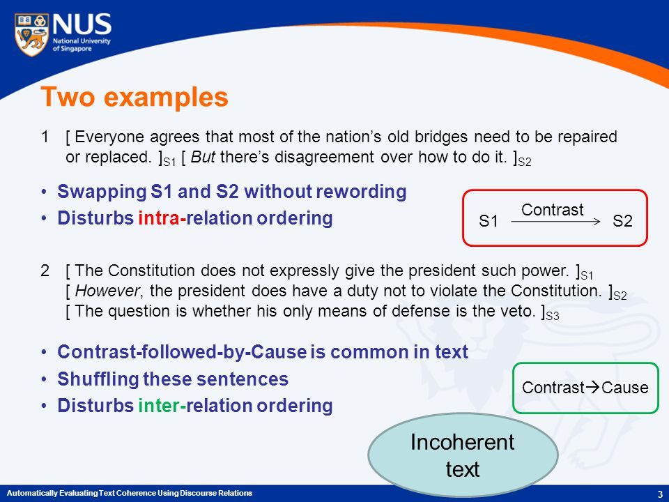 Two examples Swapping S1 and S2 without rewording Disturbs intra-relation ordering Contrast-followed-by-Cause is common in text Shuffling these sentences Disturbs inter-relation ordering 3 Automatically Evaluating Text Coherence Using Discourse Relations 1[ Everyone agrees that most of the nation's old bridges need to be repaired or replaced.