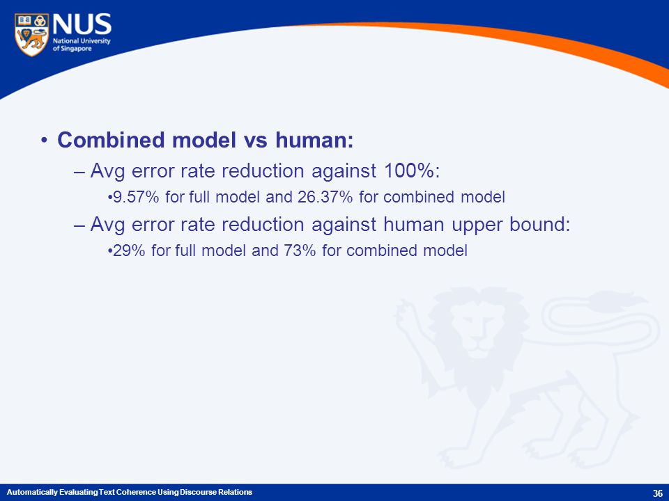 Combined model vs human: –Avg error rate reduction against 100%: 9.57% for full model and 26.37% for combined model –Avg error rate reduction against human upper bound: 29% for full model and 73% for combined model 36 Automatically Evaluating Text Coherence Using Discourse Relations