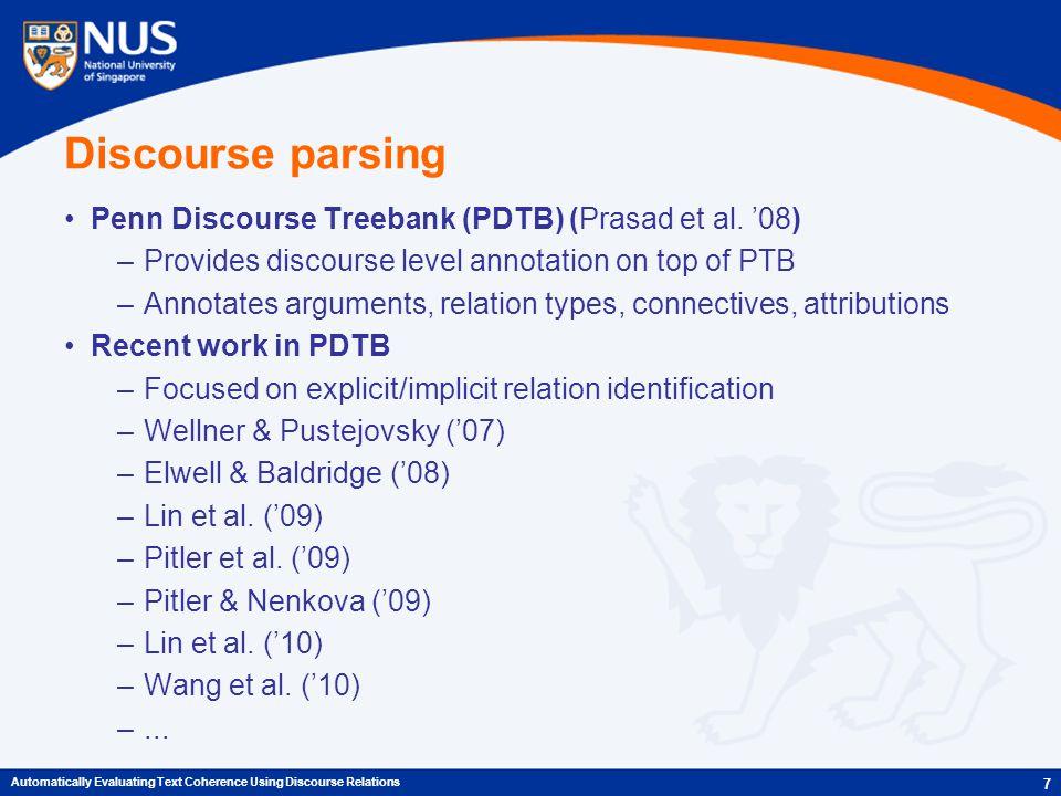 Discourse parsing Penn Discourse Treebank (PDTB) (Prasad et al.