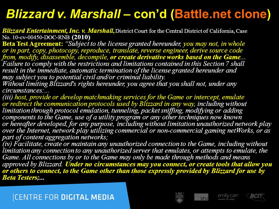 Blizzard v. Marshall – con'd (Battle.net clone) Blizzard Entertainment, Inc.