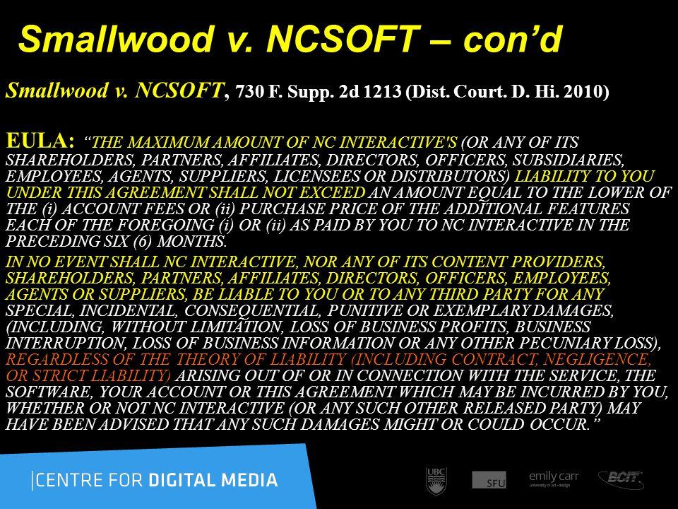 Smallwood v. NCSOFT – con'd Smallwood v. NCSOFT, 730 F.