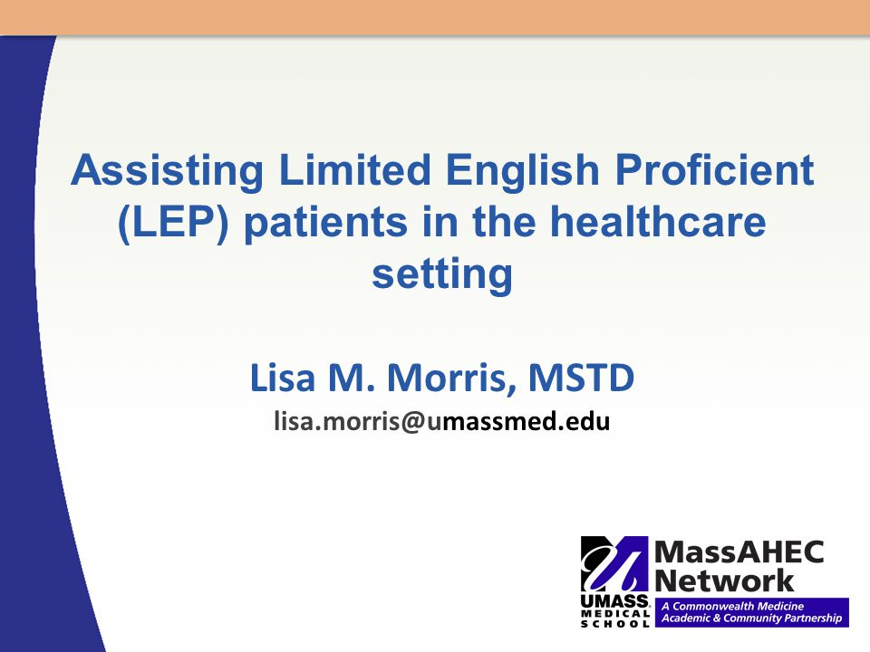 Assisting Limited English Proficient (LEP) patients in the healthcare setting Lisa M.