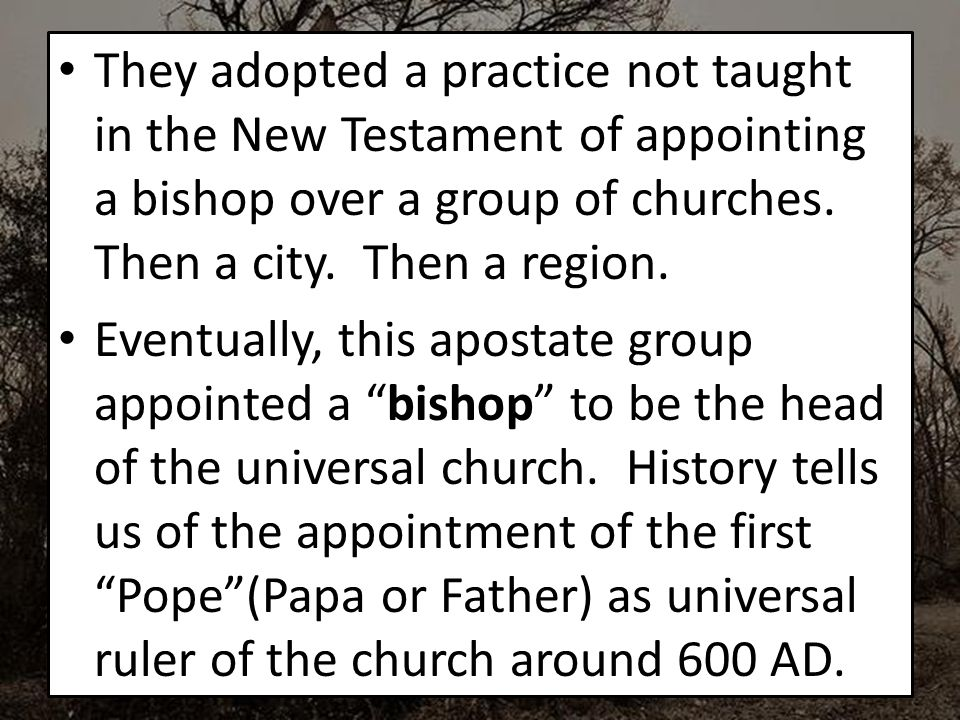 They adopted a practice not taught in the New Testament of appointing a bishop over a group of churches.