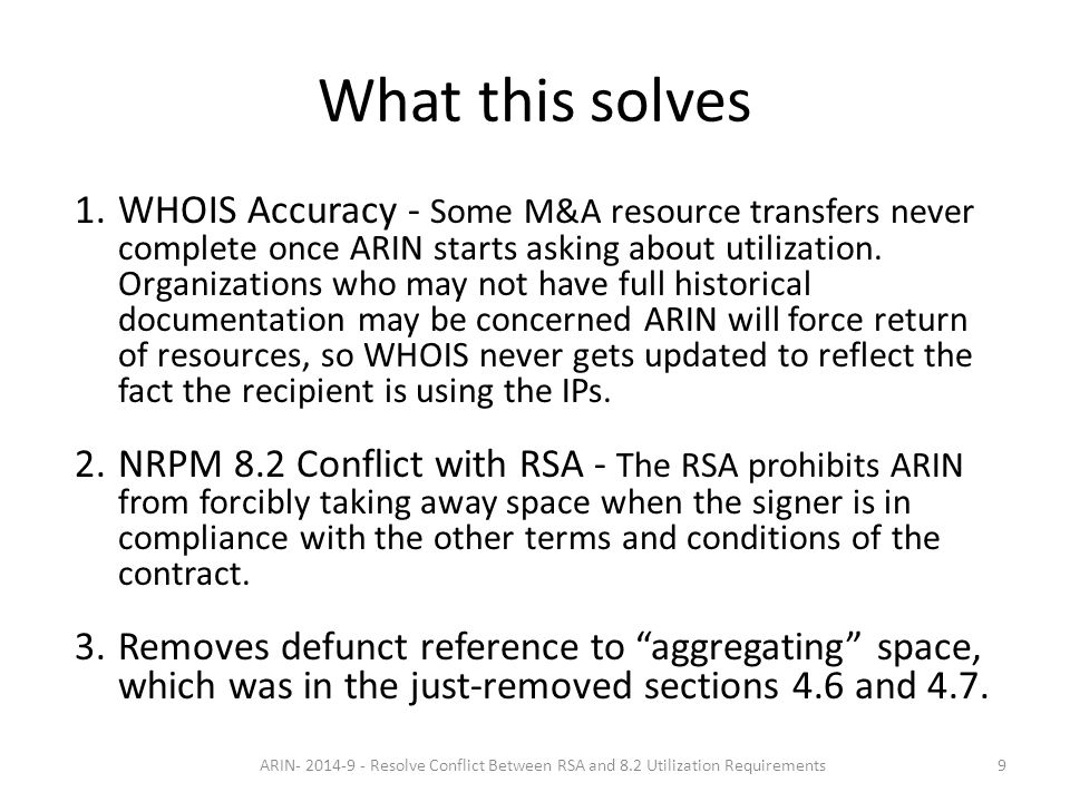 Proposed Solution There was support on PPML and at the PPM to remove the words 'aggregate' and 'reclaim'.
