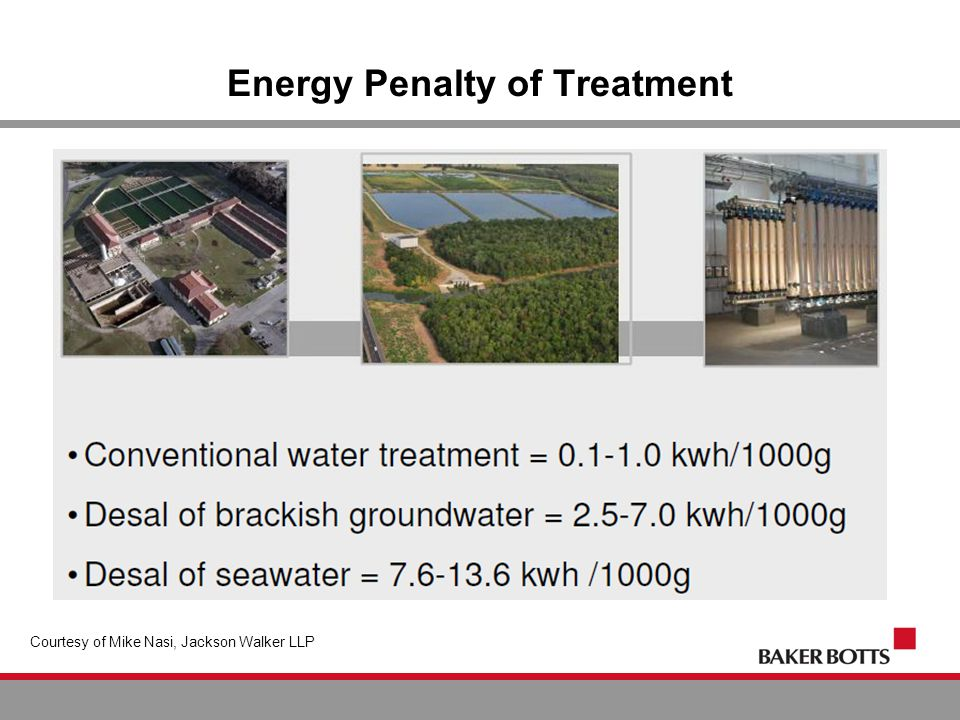 Energy Penalty of Treatment Courtesy of Mike Nasi, Jackson Walker LLP