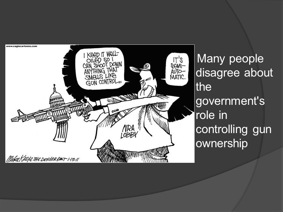 Many people disagree about the government's role in controlling gun ownership